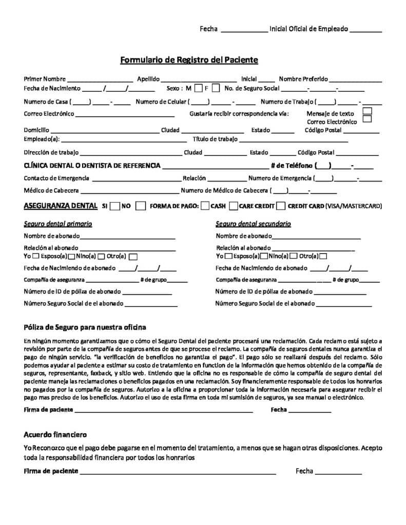 Spanish Registration Form